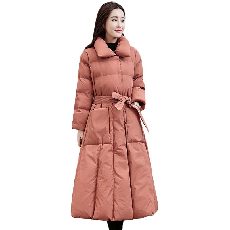 Parkas red Vers Mince Long Poches Le 2018 Femmes Épais Manteau Black Solides Pj296 Taille À Coton Survêtement Mode Nouveau Rembourré La Veste D'hiver Pink Bas leather Plus wqFnf0