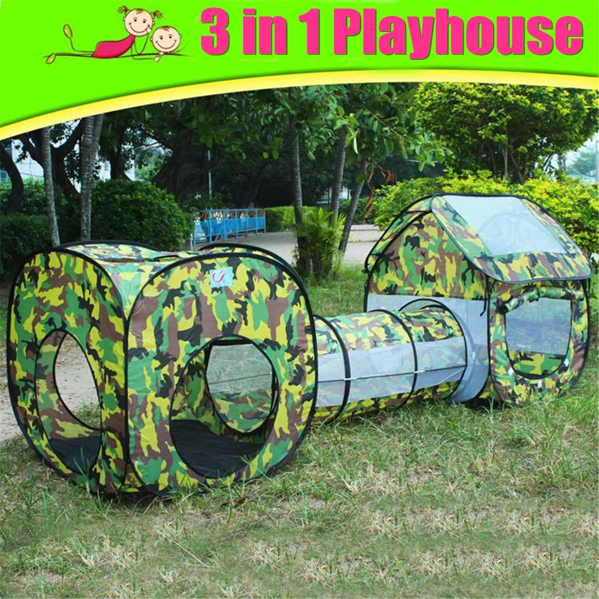 Extérieur intérieur 3 en 1 enfants jouet tente enfants Playhouse Tunnel Tube Camouflage jouant amusant sport jouets cadeaux tentes pliables