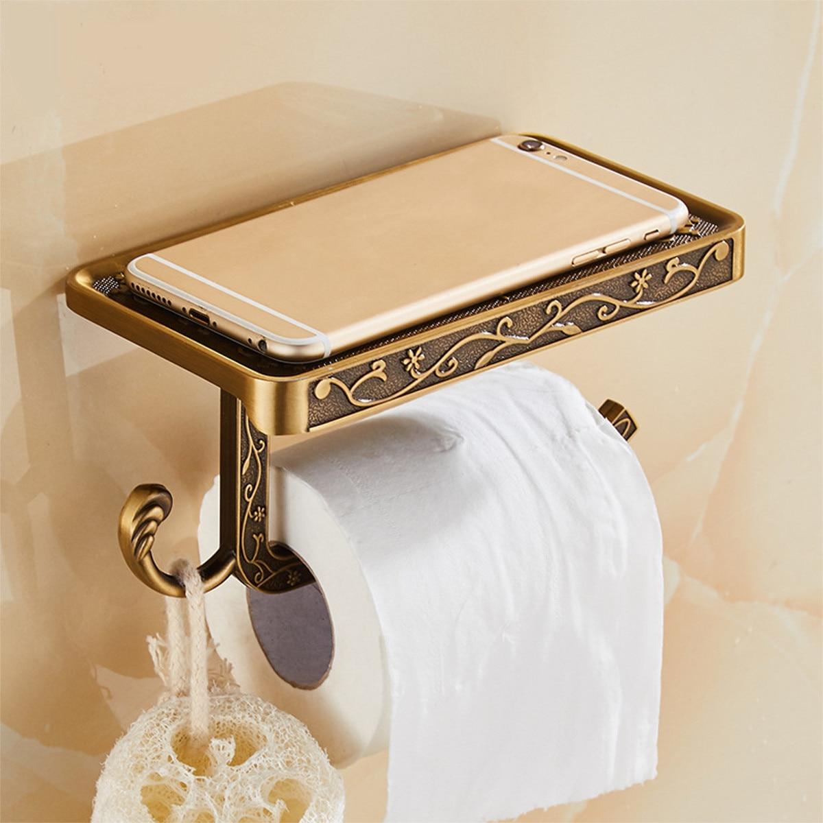Antique Carved Zinc Alloy Bathroom Paper Mobile Phone Holder With Shelf Bathroom Towel Rack Toilet Paper Holder Tissue BoxesAntique Carved Zinc Alloy Bathroom Paper Mobile Phone Holder With Shelf Bathroom Towel Rack Toilet Paper Holder Tissue Boxes