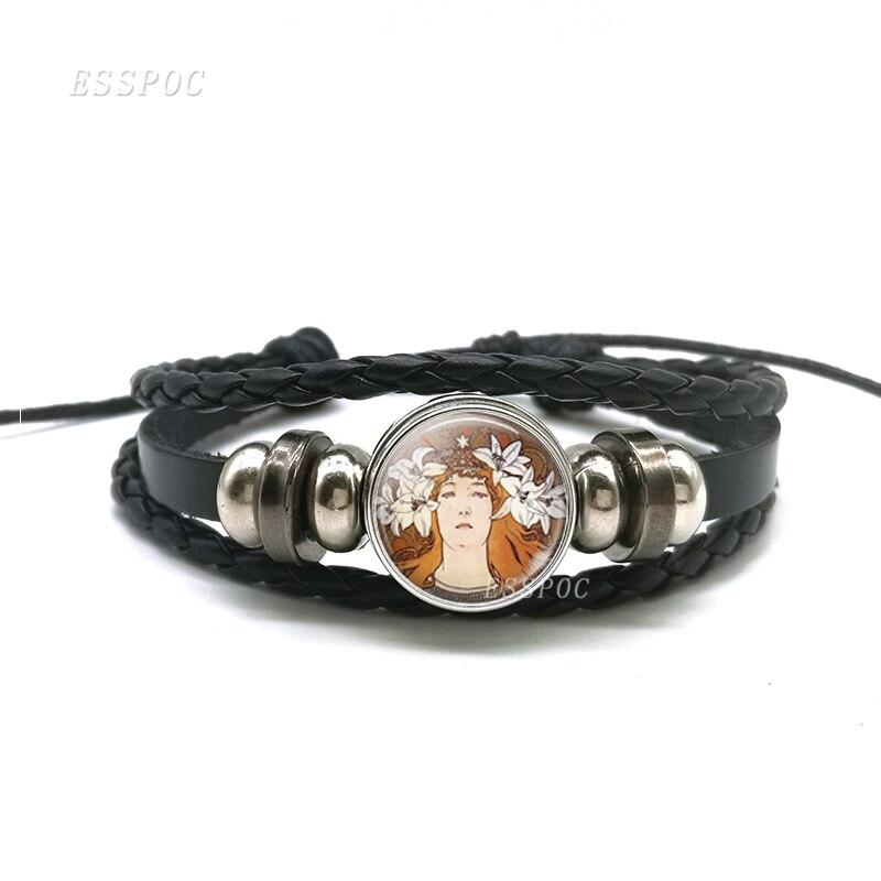 Bracelet Alphonse Mucha Art Nouveau Bracelet noir, Bracelet en cuir de mode Cabochon en verre bijoux créatifs cadeaux d'artiste