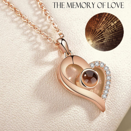 I LOVE YOU In 100 Languages Silver Gold Pendant Necklace For Memory Of LOVE