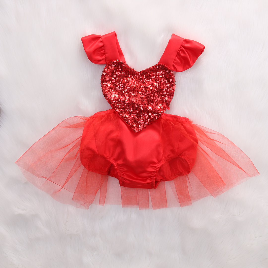 Princess Toddler Kids Baby Girls Sequins Heart Tulle   Romper   Jumpsuit Sleeveless Infant Baby Outfits Sunsuit Clothes