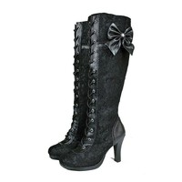 VOGELLIA Sexy Lace Knee High Black Women Boot Gothic Cosplay Lace Up High Heel Boots Bowknot Enegant Ladies Boots Plus Size