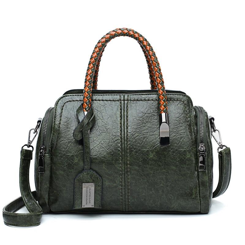Bags For Women PU Leather Handbags Crossbody Bag For Women Vintage Bucket Shoulder Bag Ladies Handbag Sac Femme