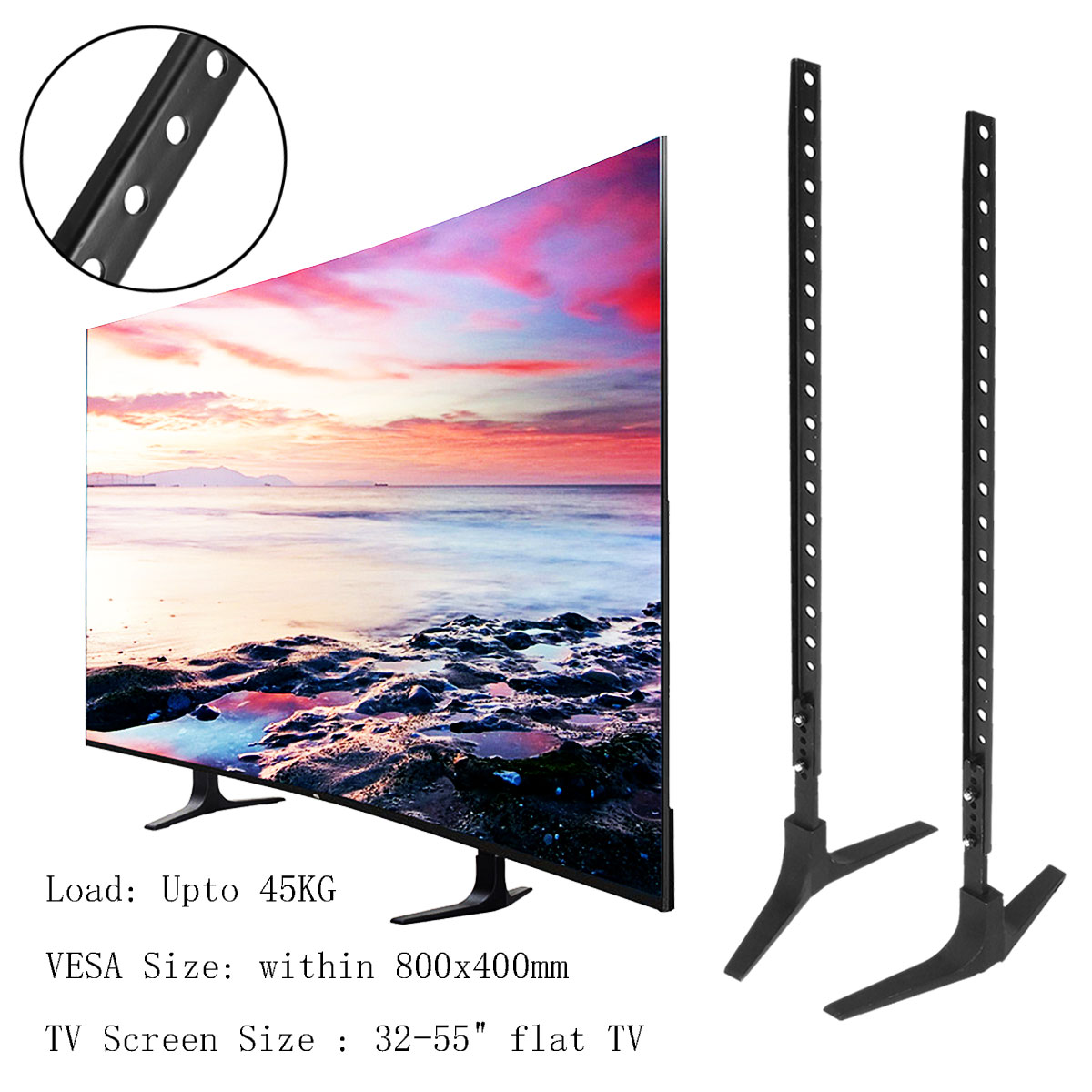 "LEORY TV Stand Base Alloy+ Steel Plasma LCD Flat Screen Universal Table Top Pedestal Mount 32-55"" Height Adjustable Easy Install"