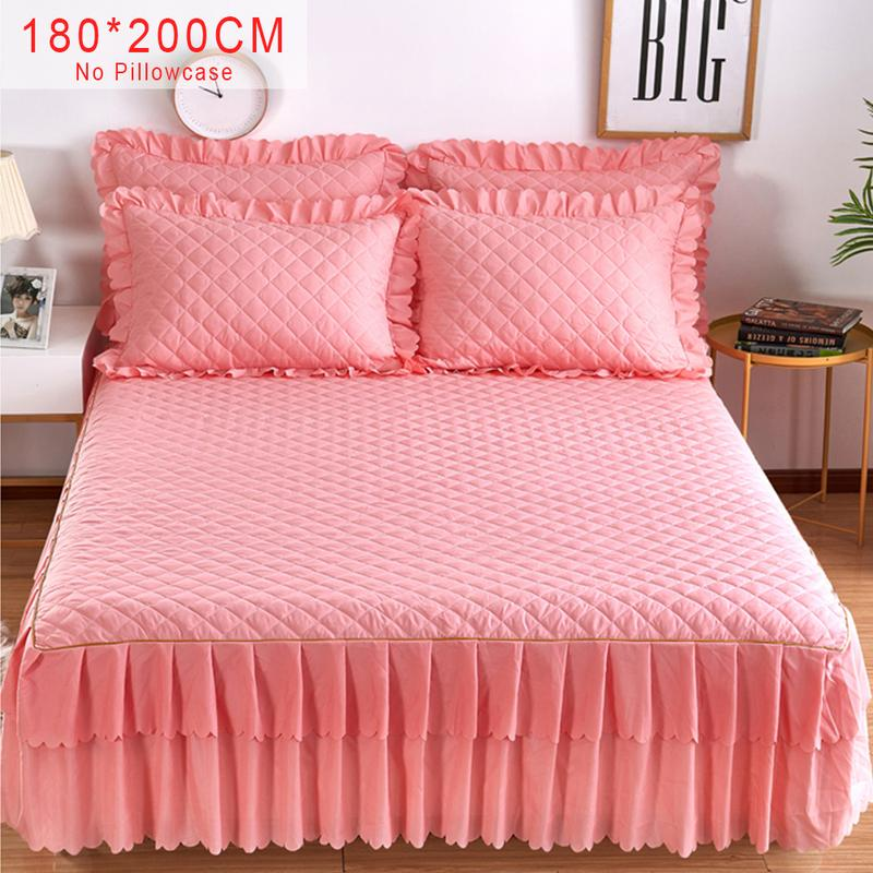 Pink Purple Grey Solid Cotton Single Double Bed Skirt Mattress Cover Petticoat Twin Full Queen
