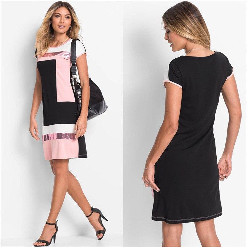 Новое модное женское лоскутное мини-платье с блестками Летнее мини-платье с коротким рукавом женское богемное вечернее платье мини пляжные...