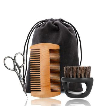 3pcs Beard Comb And Brush Kit Wild Boar Brush For Distribute Ointment Grease Growth Modeling Luster Softness Modeling Tool Gift 1