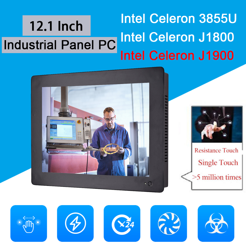 12.1 Inch Industrial Touch Panel PC,Taiwan High Temperature 5 Wire Touch Screen,Intel J1900,Wins 7/10,Linux,[HUNSN DA12W]