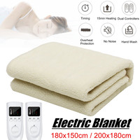 Electric Heated Blanket Winter Thermal Warm Quilt Sheet Artificial Fleece Soft Over Throw Rug Dual Digital Timer Controller