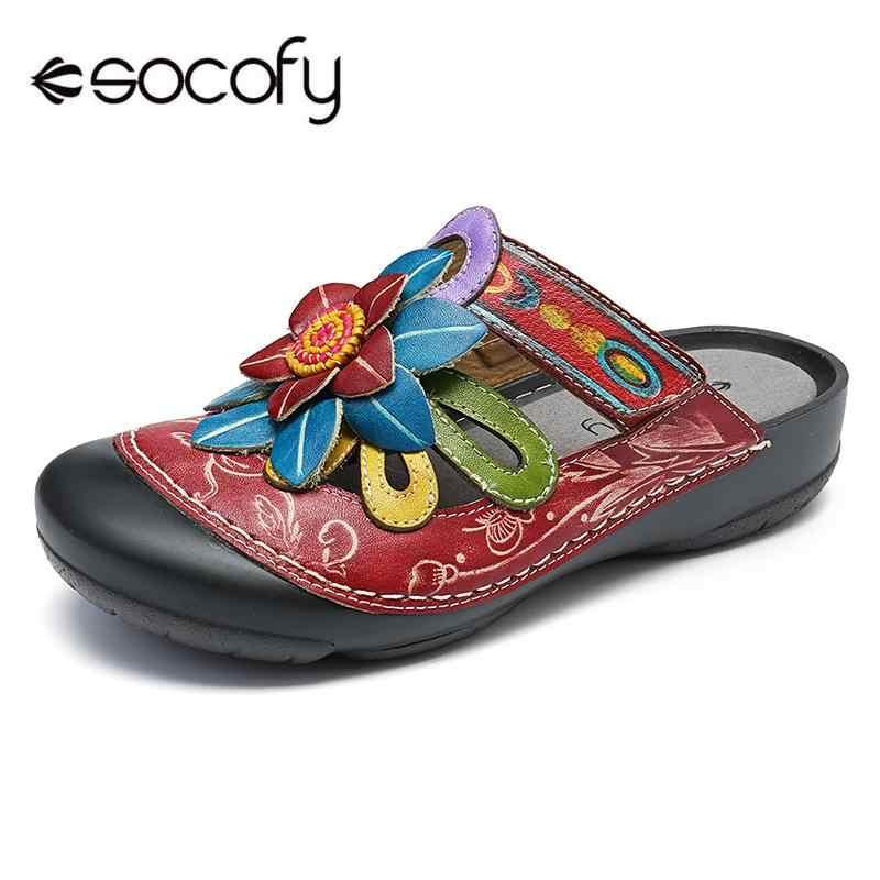 SOCOFY Women Vintage Buckle Genuine Leather Splicing Flowers Veins Zipper Shoes