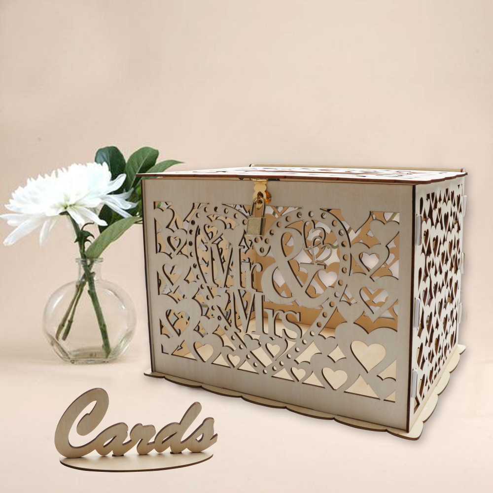 Wedding Card Box Gift Table: OHEART Wedding Card Box With Lock And Card Sign Rustic