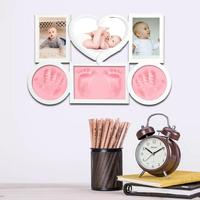 Cute Photo Frame Baby Footprint Foot or Hand Print Cast Set Gift DIY Handprint Soft Clay Non Toxic Easy To Use For Baby Gifts O3