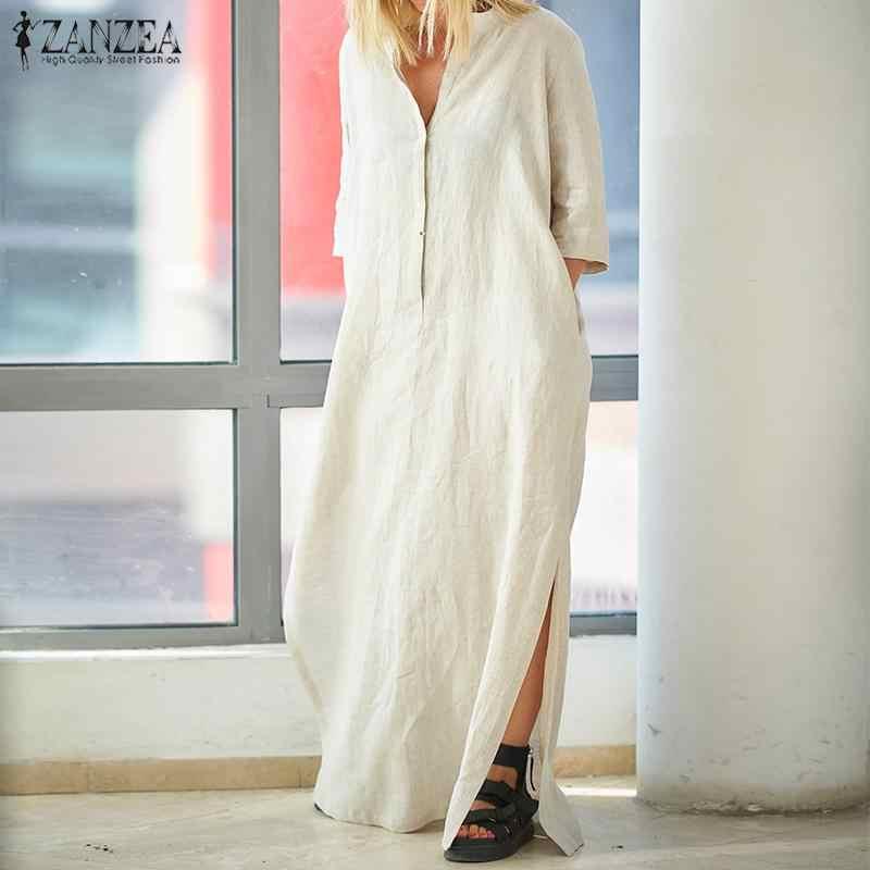 bb57e73ee0 Plus Size Women's Sundress Vintage Maxi Dress 2019 ZANZEA Summer Dresses V  Neck Half Sleeve Linen