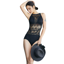 361 Women Backless Triangle Swimwear Sexy One Piece Transparent Swimsuit Solid Black Padded Push Up Beach Bathing