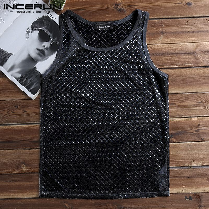 Fashion Sexy   Tank   Casual Tee See Throught Men   Tank     Tops   Male Camiseta Transparent Night Club Dance Unsiex Femininas Clothes