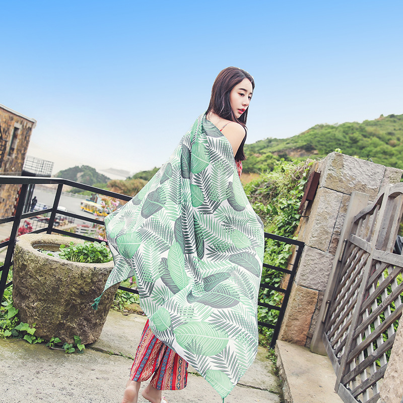 LEAYH Brand Green Feather Printed Cotton and Linen Scarf For Women Fashion Summer Sunscreen Beach Towels Long Shawls