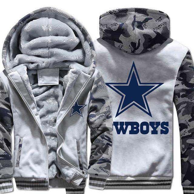 Size S-4XL Women Men Black Dallas Cowboys Camouflage Print Thicken Hoodies  Winter Woolen Zipper Coat Casual Velvet Jacket f90b107fd