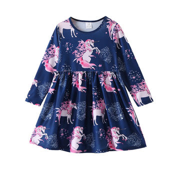 Kids Infant Unicorn Floral Party Dresses Toddler Autumn Spring Clothes 2