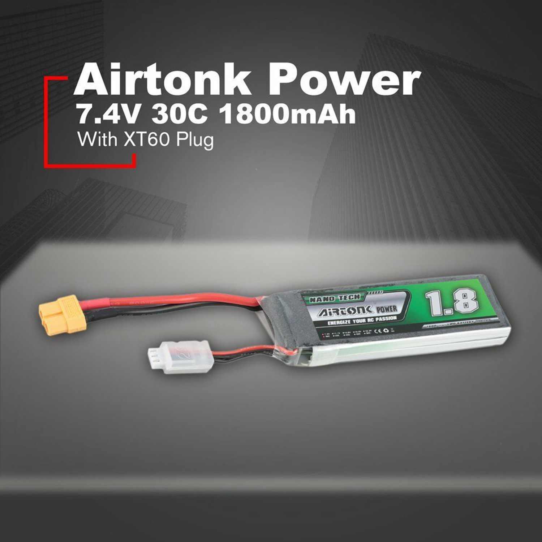 Airtonk 7.4V 1800Mah 30C 2S 1P Lipo Battery Xt60 Plug For Rc Drone Car