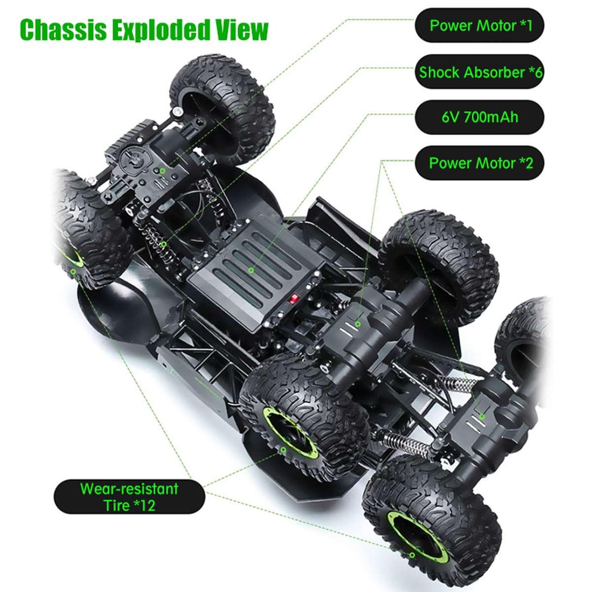 1/12 6WD tout-terrain voiture lecteur grimpeur avec échelle de phare 2.4 GHz RC camion jouet cadeau de noël pour enfants et adultes - 4