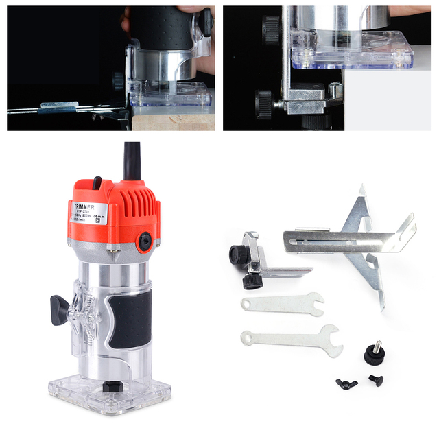 800W 30000rpm Electric Hand Trimmer Router Wood Carving Machine Woodworking Machinery Tools For Cutting / Trimming / Slotting