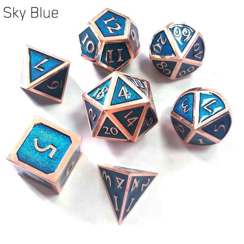 Factory Outlet Nieuwe Lettertype Dungeons & Dragons 7 stks/set Creatieve RPG Dobbelstenen D & D Metal Dice Set Transparant Blauw
