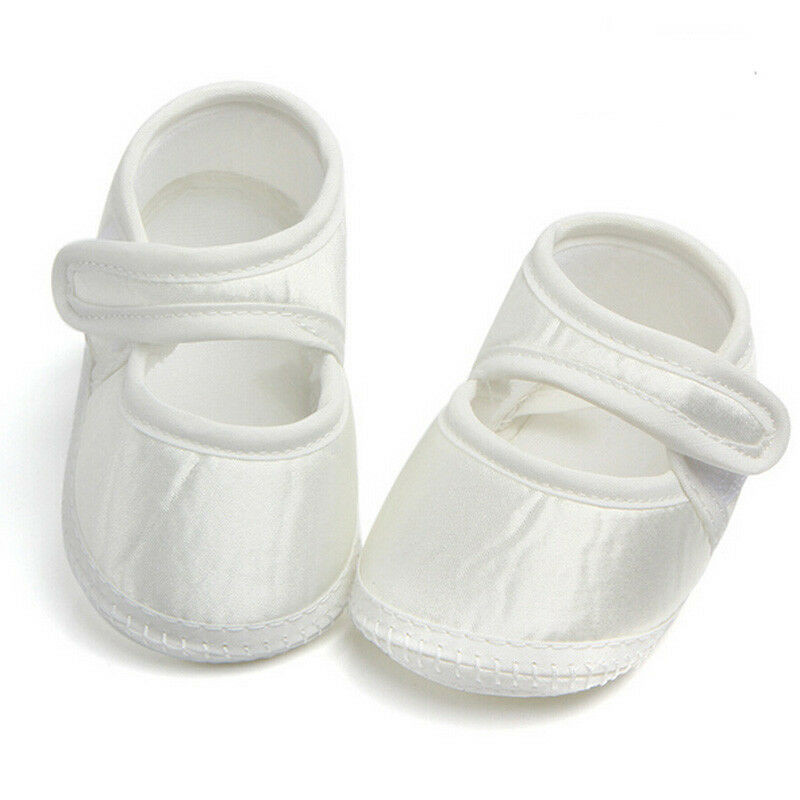 Newborn Infant Baby Girls Crib Shoes Casual Soft Sole White Walking Shoes For 0-6 Months Babies