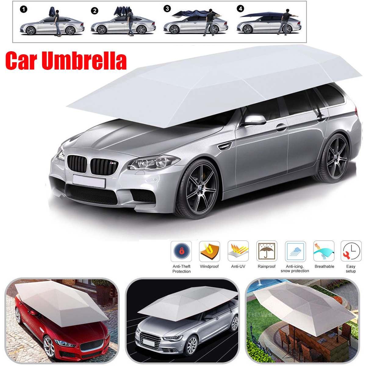 Le véhicule de voiture Semi automatique portatif couvre le parasol automatique pliable extérieur parapluie Anti-UV de voiture accessoires d'ombre de soleil