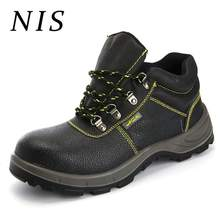 NIS Men Safety Shoes Welding Work Boots PU Leather Steel Toe Men Hiking Hunting Ankle Boots Atrego Anti-smashing Sport Shoes New