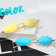 Small metallic multi-color rimless sunglasses mens retro oval eyeglasses womens specular mini