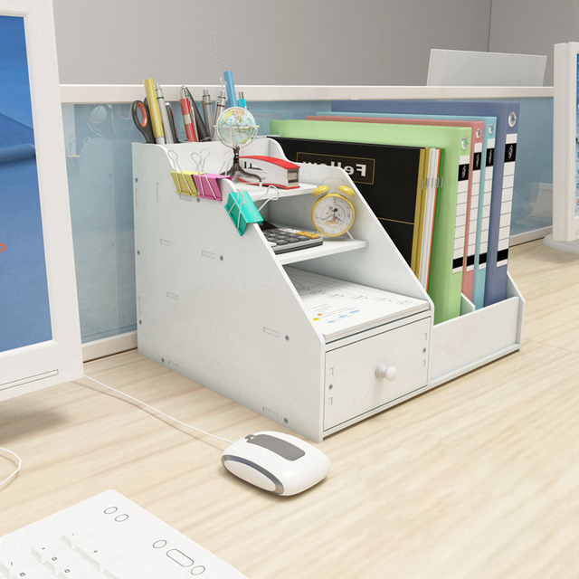 Multi Use Desktop Stationery Organizer Box With Document File Book Stand and Pen Holder Drawer Rack for Memo Note Pad 3