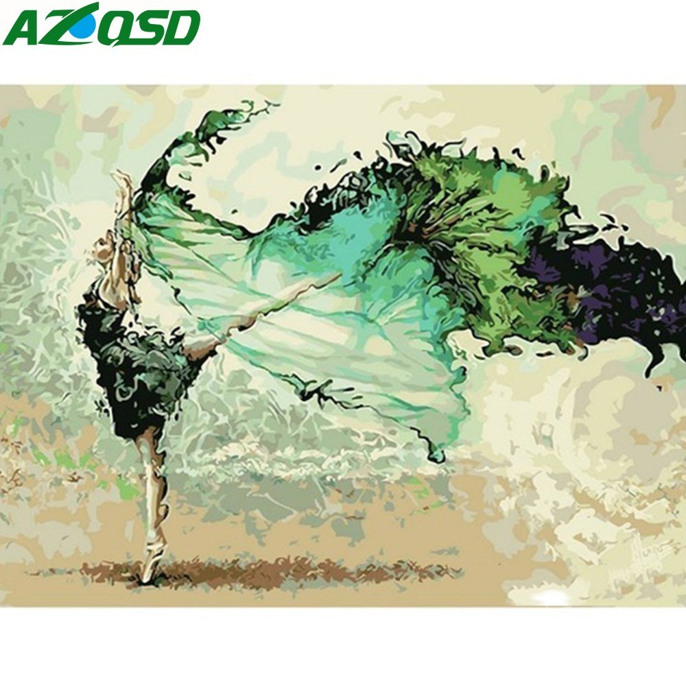 AZQSD Green Dress Dance Beauty Painting By Numbers On Canvas 40x50cm Frameless Oil Painting Picture By Numbers Decor Szyh6228