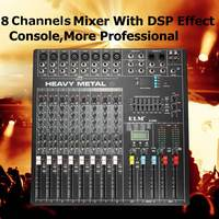 ELM 8 Channels Audio Mixer Console WIth USB DSP Digital Effects Mixing For DJ Audio Karaoke Professional