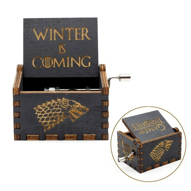 Hot Antique Carved Wood Black Star Wars Game of Thrones Music Box Hand Crank Theme Music New Year Gift, Birth Day Gift image