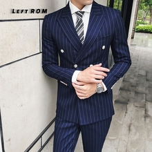 (only Jacket) LeftROM Men Wedding Suit Male Blazers Slim Fit Suits for Men Costume Business Formal Party Classic Black/Gray/Navy
