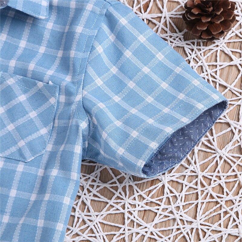 4 10 lat Plaid koszule chłopięce lato niebieski Plaid dzieci  T6Esd