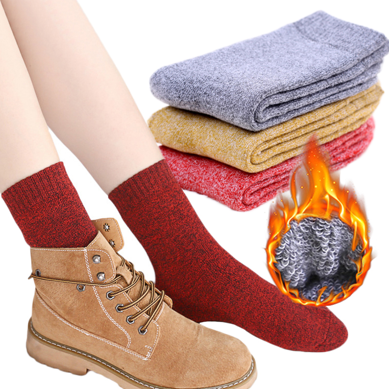 Winter Cotton 1Pair Hot Sale Terry   Socks   Thermal Women   Socks   Solid Female Casual Thick Ladies Home   Socks   Casual Breathable