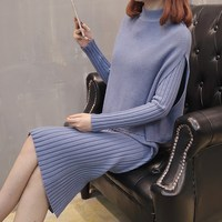 New Autumn Winter Women Knitted Two Piece Sets Fashion Pullovers Sweater Tops and Mid Dress Outfits Solid Suits