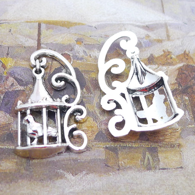 50pcs Exquisite birdcage bird charms pendants 34*21mm Antique silver bag accessories craft Jewelry earring bracelet necklace