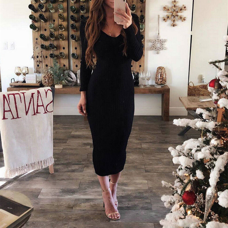 <font><b>2018</b></font> <font><b>Women</b></font> Sweater Dress Knitted <font><b>Sexy</b></font> <font><b>Elegant</b></font> Maxi Long Sleeve <font><b>Bodycon</b></font> Slim Casual Party Evening <font><b>Autumn</b></font> Winter <font><b>Fashion</b></font> New Sale image