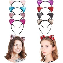 Eversible Sequin Cat Ears Headband Shiny Ear Hair Hoops Cute Bling Hairband Hair Accessories for Girls Women Party Decoration цена
