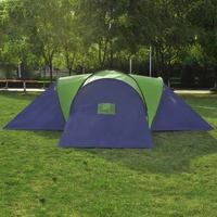 vidaXL Camping Tent 9 People Comfortable Breathable Waterproof 3 Windows with Mosquito Net Traveling Camping Outdoor Large Tent