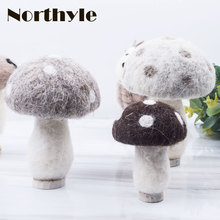 DH mini three wool mushroom miniature home decoration accessories fairy garden miniatures christmas figurine gift
