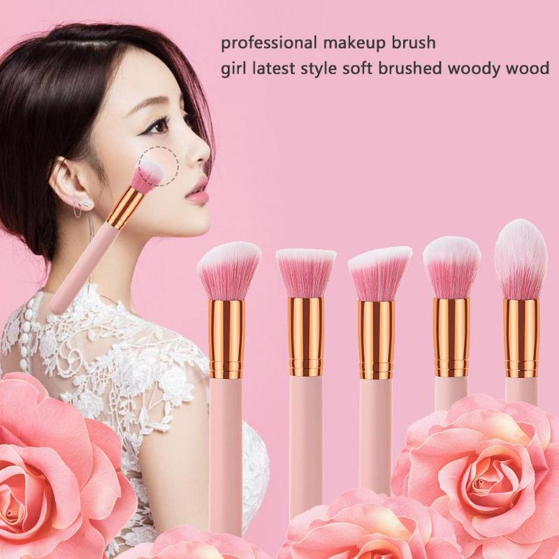 10Pcs Pink Luxury Makeup Brushes Set Professional Synthetic Hair Brush Set Lip blush makeup cosmetic Brushes in Eye Shadow Applicator from Beauty Health