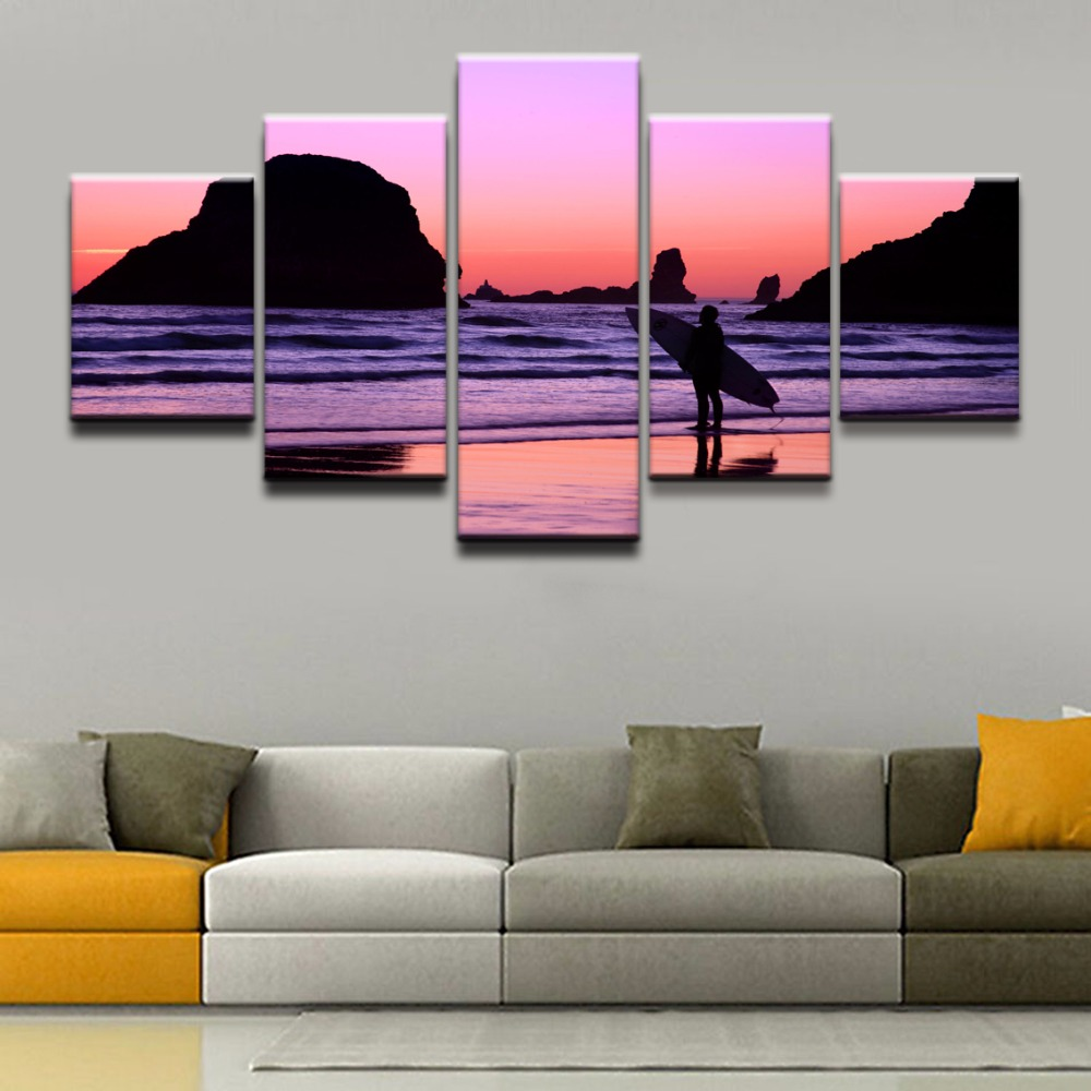 Wall Art Picture Framework Home Decorative Poster 5 Pieces Sports Surfing For Living Room Modern Top Rated Canvas Print Painting in Painting Calligraphy from Home Garden