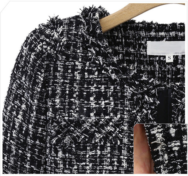 Brand With Fund Autumn And Winter Short Loose Coat Black And White Check Suit-dress Will Code Self-cultivation Small Real