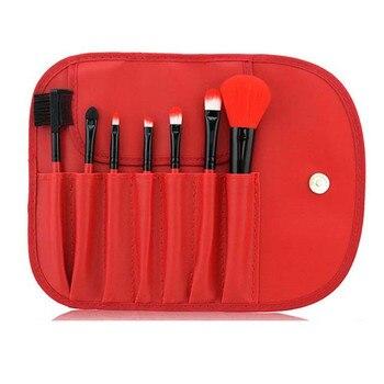 c4c68baa5 Rakado 7 piezas maquillaje cosmético polvo cepillos Pincel ojo cepillo  completo Kit para hacer herramientas de belleza con el caso de cuero  profesional