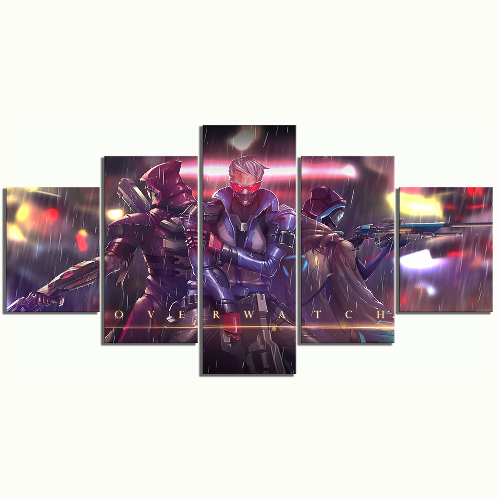 Home Decor Canvas Picture 5 Piece Overwatch SOLDIER 76 Reaper Game Painting Poster Wall For Home Canvas Painting Wholesale in Painting Calligraphy from Home Garden
