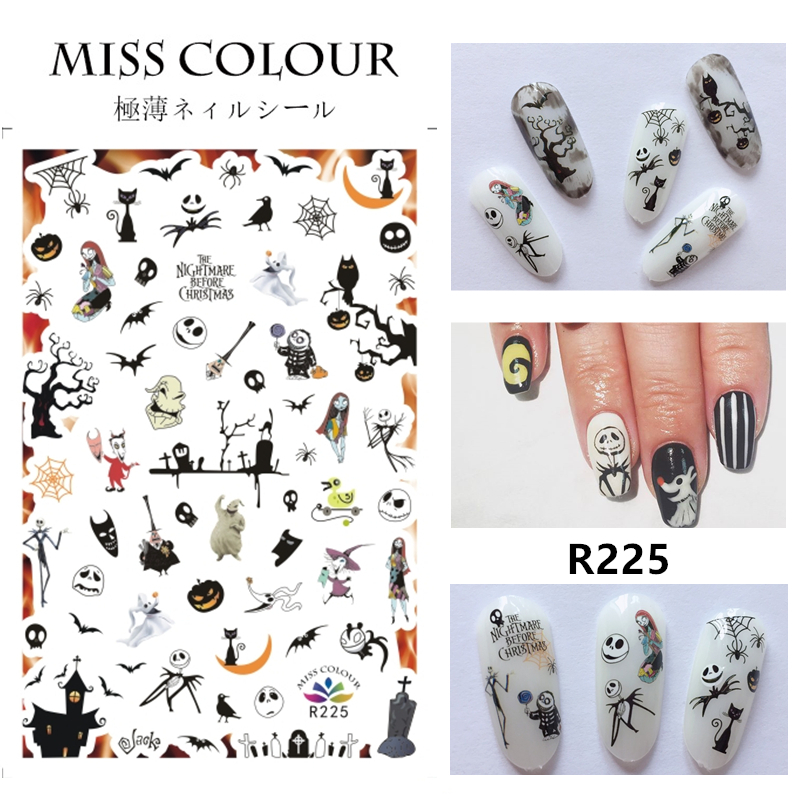 1pc Halloween water transfer nail art stickers decals nails decorations manicure tools pumpkin skull design(China)
